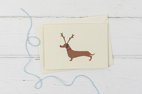 Dachshund Rudolph- Christmas greetings card