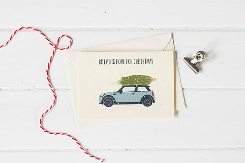 Mini Cooper in grey with Christmas tree- Christmas greetings card