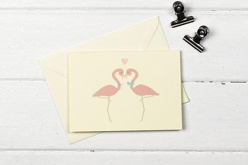 Flamingo love greetings card