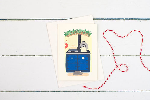 Blue Aga Christmas greetings card