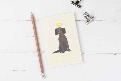 Dog pet sympathy card- Brown Spaniel- Furry Angel- pet loss card