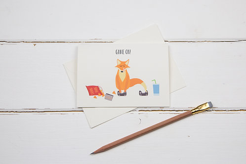 Fox game on! gaming birthday card