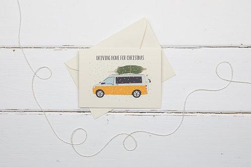 Orange camper van with Christmas tree- greetings card