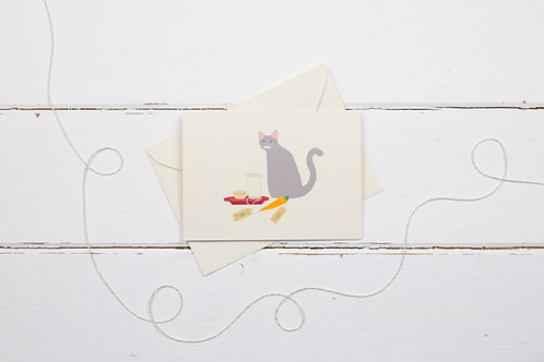 Naughty grey cat with Santa's treats- Christmas card