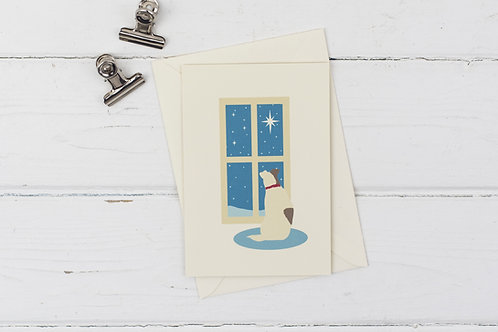 Christmas scene- little dog at the window- Christmas greetings card