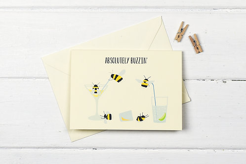Bee- Absolutely Buzzin' greetings card