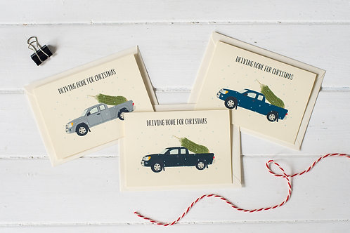 Set of 3 Pick up truck Christmas greetings cards