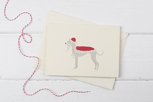 Whippet Santa- Christmas greetings card