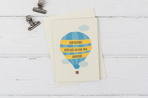 Bon Voyage! Hot air balloon good luck card