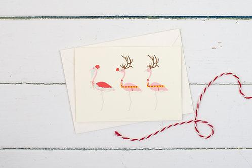 Flamingo Santa & Reindeer Christmas greetings card