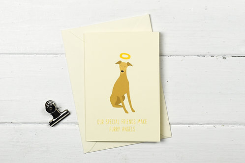Dog pet sympathy card- Brown whippet- Furry Angel- pet loss card