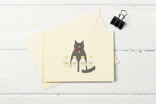 Cat with the cream- greetings card