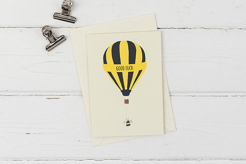 Bee hot air balloon- good luck card