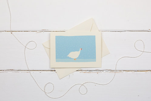 White Guineafowl in the snow- Christmas greetings card