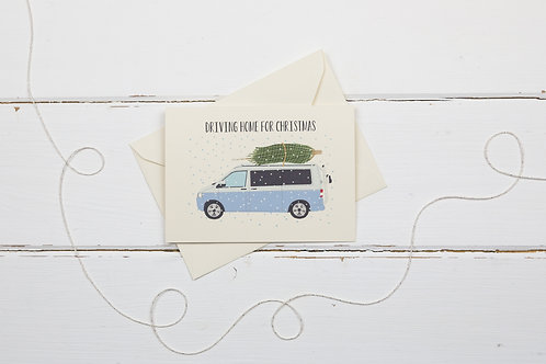 Lilac camper van with Christmas tree- greetings card