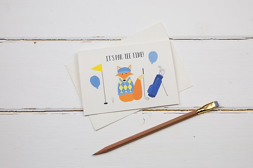 Fox par-tee time golf birthday card