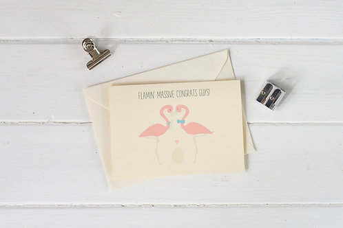 Flamingo new baby greetings card