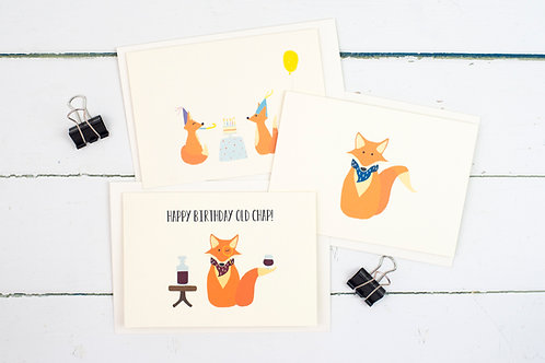 Set of 3 fox themed cards