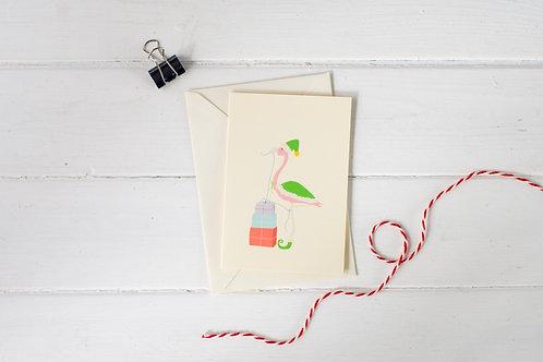 Flamingo Elf Christmas greetings card