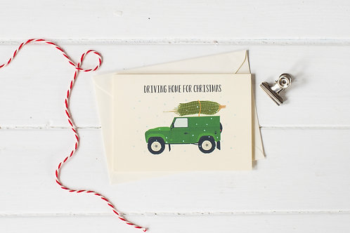 Country 4x4 in green with Christmas tree- greetings card