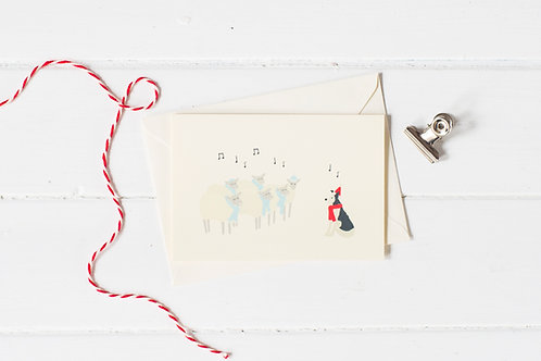 Nell & her sheep carol singing Christmas greetings card