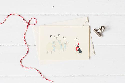 Nell & her sheep carol singing Christmas greetings card