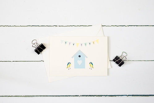 Blue tits new home greetings card
