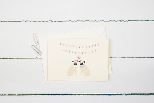 Pug- Silver wedding anniversary greetings card