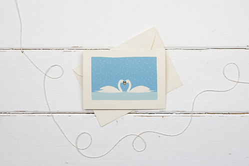 Swans in the snow- Christmas greetings card