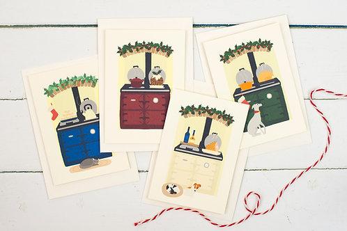 Set of 4 Christmas Aga cards