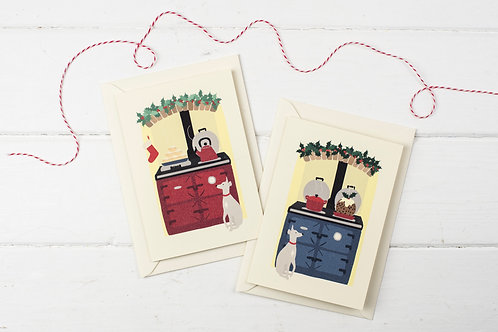 Set of 4 Christmas Aga cards with whippets