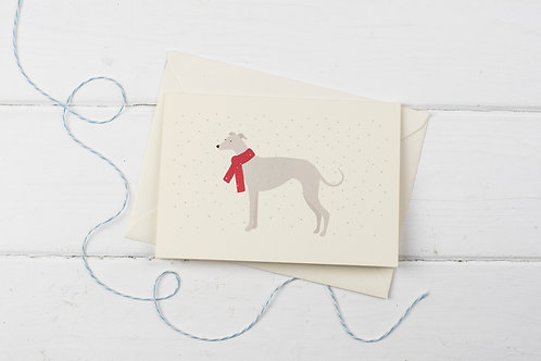 Whippet in the snow- Christmas greetings card