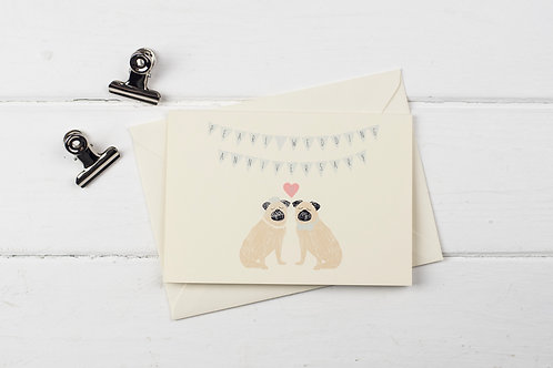 Pug- Pearl wedding anniversary greetings card