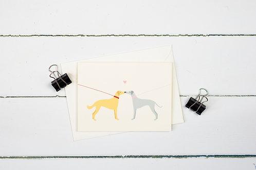 Dog walk love greetings card