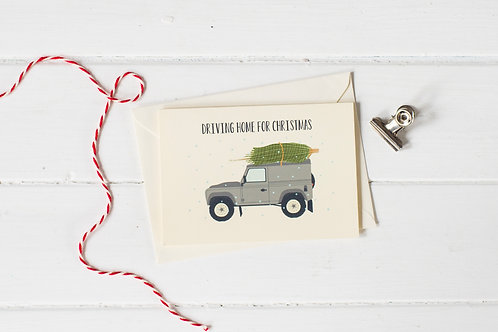 Country 4x4 in grey with Christmas tree- greetings card