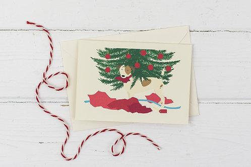 Naughty Christmas Russell under the Christmas tree- Christmas greetings card