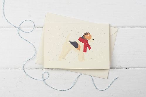 Fox Terrier in the snow- Christmas greetings card