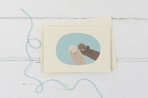 Otters in the snow- Christmas greetings card