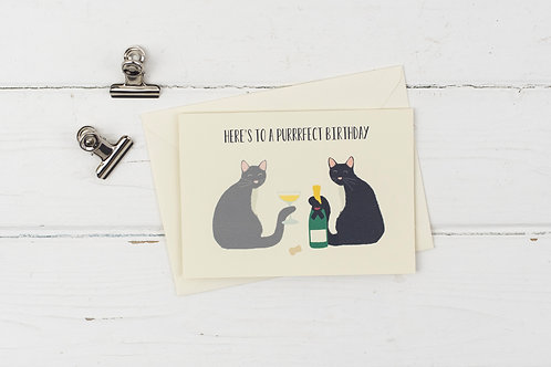 Cat purrrrfect birthday card