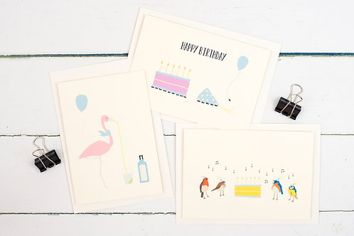 Set of 3 birthday cards