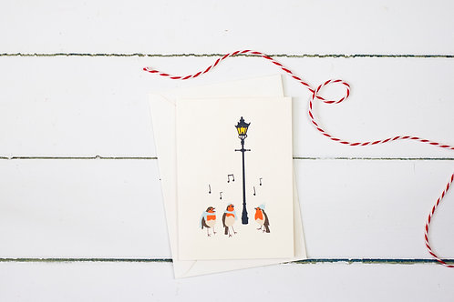 Carol singing robins- Christmas greetings cards