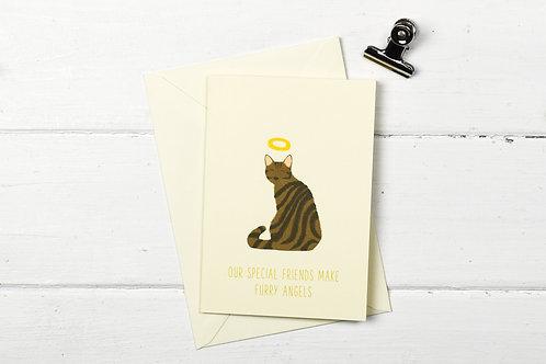 Cat pet sympathy card- brown tabby cat- Furry Angel- pet loss card