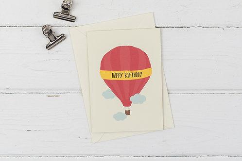 Red hot air balloon birthday card
