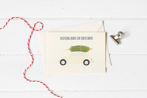 Classic VW Beetle in cream with Christmas tree- greetings card