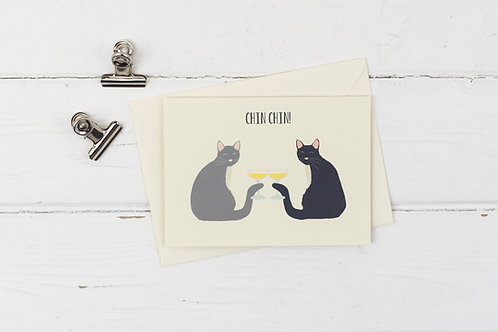 Chin chin- cats with fizz birthday card