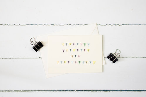 Congratulations & jubilations- greetings card