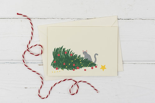 Naughty Cat with knocked over Christmas tree- Christmas greetings card