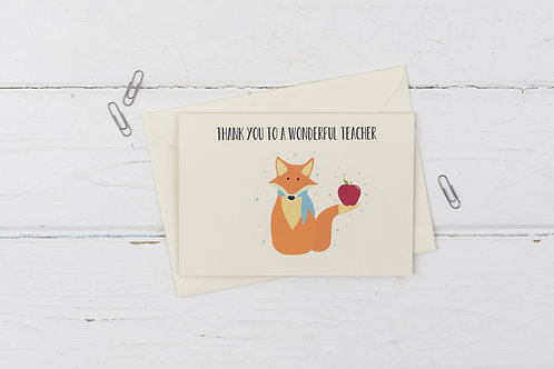 Fox- Teacher Thank you card
