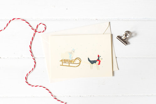 Nell & her sheep sledging Christmas greetings card