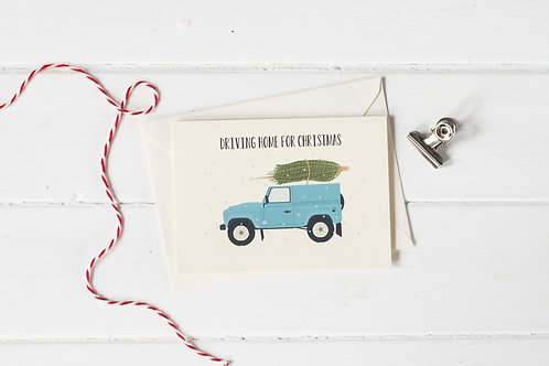 Country 4x4 in blue with Christmas tree- greetings card